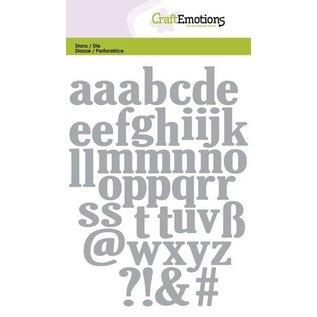 Craftemotions Ponsen en embossing sjabloon: kleine letters