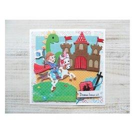 Marianne Design Stempelen en embossing stencil + postzegel ontwerpen: Ritterburg