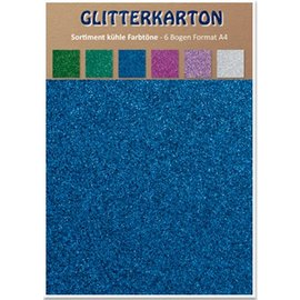 REDDY Glitter karton, kølige nuancer