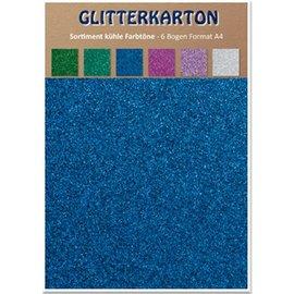 REDDY Glitterkarton, kühle Farbtöne