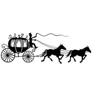 Stempel / Stamp: Transparent Stamp Transparant: Het silhouet van het vervoer met paarden