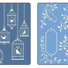 Sizzix Gofrado carpetas, 2 piezas, aves y pajareras
