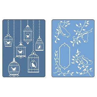 Sizzix Embossing folders, 2 stuks, vogels en nestkastjes