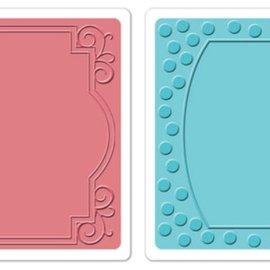 Sizzix Embossing folders, 2 stuks, frame met wervelingen en frames met de punten