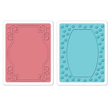 Sizzix Goffratura cartelle, 2 pezzi, telaio con turbinii e cornici con punti