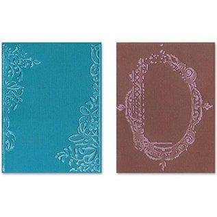 Sizzix Embossing folders, 2 stuks, frame met wervelingen en frames met bloemenmotief