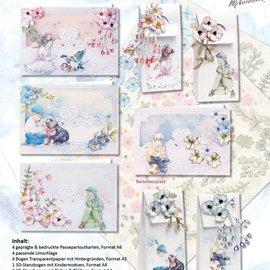 BASTELSETS / CRAFT KITS Komplettset für 4 Karten und 4 Geschenktaschen !!
