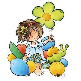 Marianne Design sello transparente: Snoesjes, muchacha con los globos