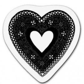 Cart-Us timbre transparent: coeur en dentelle