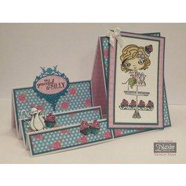 Crafter's Companion Stamp + base springen kart: Jente med Cupcake