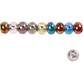 Schmuck Gestalten / Jewellery art 10 glass beads, D: 13-15 mm, transparent colors