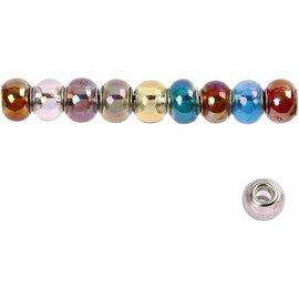 Schmuck Gestalten / Jewellery art 10 glazen kralen, D: 13-15 mm, transparante kleuren