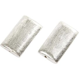 Schmuck Gestalten / Jewellery art 2 perla esclusiva, rettangolo, dimensioni 25x15x5 mm. Argento spazzolato, placcato in argento sterling!