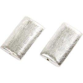 Schmuck Gestalten / Jewellery art 2 Exklusive Perlen, Rechteck, Größe 25x15x5 mm. Gebürstetes Silber, Sterlingsilber versilbert!