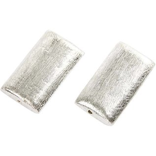 Schmuck Gestalten / Jewellery art 2 Exclusieve parel, rechthoek, afmeting 25x15x5 mm. Geborsteld zilver, sterling verzilverd!