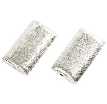 Schmuck Gestalten / Jewellery art 2 Exklusive Perle, Rechteck, Größe 25x15x5 mm. Gebürstetes Silber, Sterlingsilber versilbert!