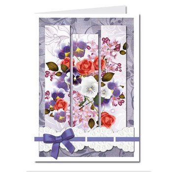 BASTELSETS / CRAFT KITS Bastelset: Triptychonkarten (trifold card) with flowers