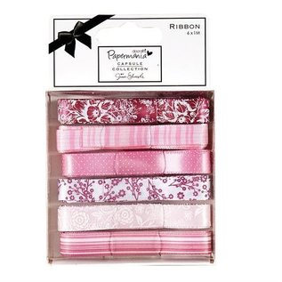 Docrafts / Papermania / Urban 6 X 1m satin ribbon, pink tones