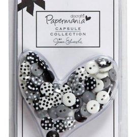 Docrafts / Papermania / Urban 60 mini-boutons, noir / blanc avec des points