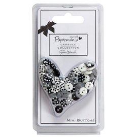 Docrafts / Papermania / Urban 60 mini bottoni, nero / bianco con i puntini