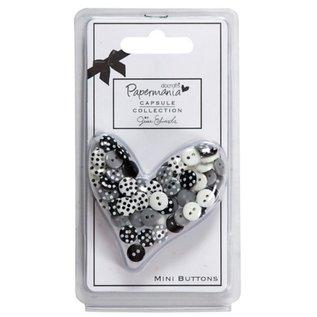 Docrafts / Papermania / Urban 60 mini-knoppen, zwart / wit met stippen