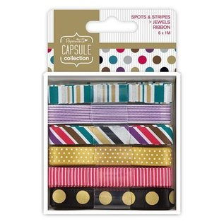 Docrafts / Papermania / Urban 6 X 1m satin ribbon with dots and stripes