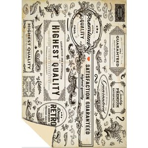 """Karten und Scrapbooking Papier, Papier blöcke 1 Bogen Designerkarton """"Vintage Labels"""", 250g.-Qualität Format: 24 x 34cm"""