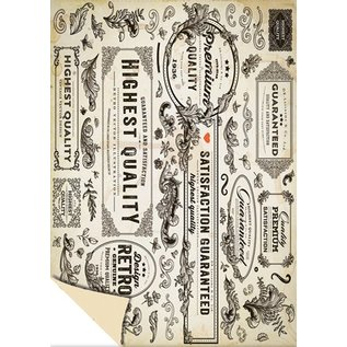 """Karten und Scrapbooking Papier, Papier blöcke 1 bue designer boks """"Vintage Labels"""", 250g.-Kvalitet størrelse: 24 x 34cm"""