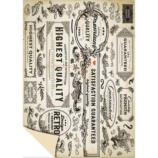"""Karten und Scrapbooking Papier, Papier blöcke 1 strik-designdoos """"Vintage Labels"""", 250g.-kwaliteit maat: 24 x 34cm"""