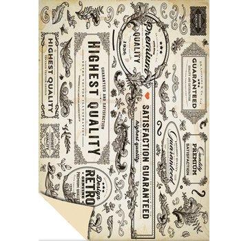 "Karten und Scrapbooking Papier, Papier blöcke 1 scatola di design ad arco ""Vintage Labels"", 250g.-Dimensioni di qualità: 24 x 34 cm"