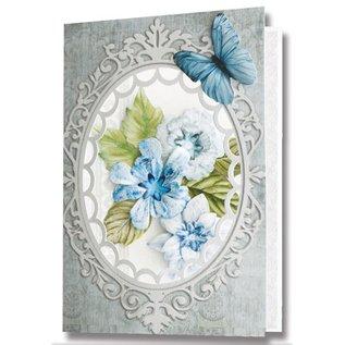 Embellishments / Verzierungen Die losse vellen, set van 2 bloemstukken, blauw