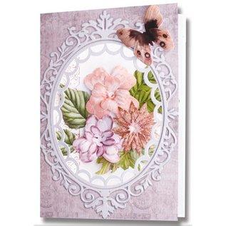 Embellishments / Verzierungen Stanzbogen, 2er Set Blumen Gestaltungen, blau