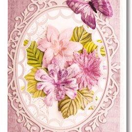 Embellishments / Verzierungen Die cut sheet, set of 2 flower arrangements, pink