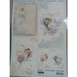 Bilder, 3D Bilder und ausgestanzte Teile usw... Baggrund sløjfe + afskårne ark, tema: Bryllup, Engagement