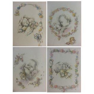 Bilder, 3D Bilder und ausgestanzte Teile usw... Background bow + cut sheets, Theme: Baby