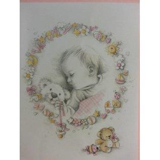 Bilder, 3D Bilder und ausgestanzte Teile usw... Achtergrond boog + losse vellen, Thema: Baby