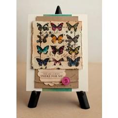 A5 tampons en caoutchouc Unmounted fixés: les oiseaux, les papillons, la couronne et le transport à cheval