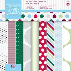 Karten und Scrapbooking Papier, Papier blöcke Designer Block, 20,3 x 20,3 cm met stippen en strepen