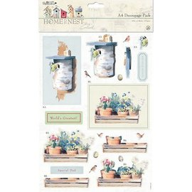 Docrafts / Papermania / Urban Set di carte decoupage in formato A4, motivi da giardino
