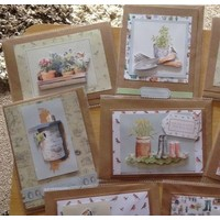 A4 decoupage cards set, garden motifs