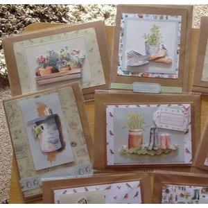 Docrafts / Papermania / Urban A4 decoupage cards set, garden motifs
