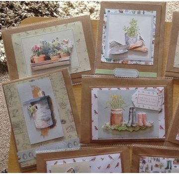 Docrafts / Papermania / Urban A4 decoupage cards set, garden motifs