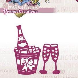 Yvonne Creations Ponsen en embossing sjabloon: Champagne