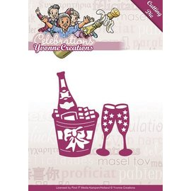 Yvonne Creations Punching and embossing template: Champagne