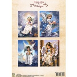 Nellie Snellen A4, Bilderbogen Vintage, Søte engler