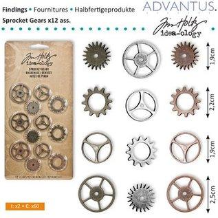Embellishments / Verzierungen Kettenräderchen, 12 stuks antiek,