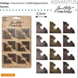 Embellishments / Verzierungen esquina de metal, 12 piezas de antigüedades,