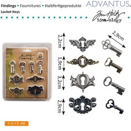 Embellishments / Verzierungen antieke metalen 4 sleutelgaten + 4 antieke sleutels en 8 schroeven