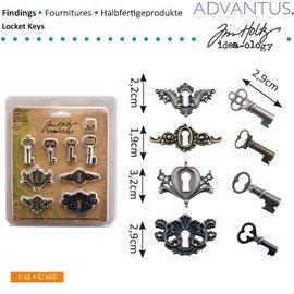 Embellishments / Verzierungen metallo antico 4 fori + 4 chiavi antiche e 8 viti