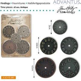 Embellishments / Verzierungen 5 Antike Uhren, verschiedene Größe - zurück vorrätig!